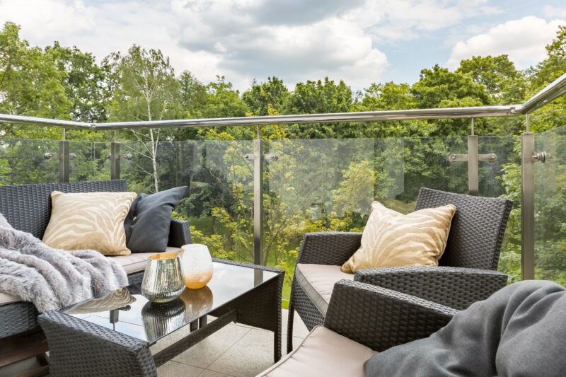 Balcony Balaustrades with green forest view
